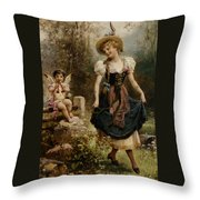 Verliebtes Dirndel Throw Pillow