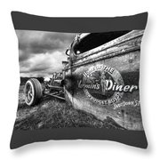 Vermin's Diner Rat Rod In Black And White Throw Pillow