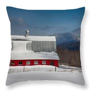 Vermont Barn In Snow With Mountain Behind Throw Pillow