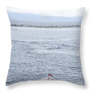 Vermont Boat Pier Throw Pillow
