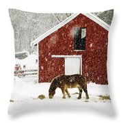Vermont Christmas Eve Snowstorm Throw Pillow