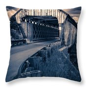 Vermont Covered Bridge In Moonlight Throw Pillow