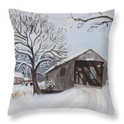 Vermont Covered Bridge In Winter Throw Pillow