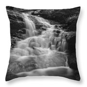 Vermont Forest Waterfall Black And White Throw Pillow