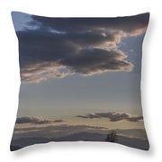 Vermont Grass Field Trees Clouds Adirondack Mountains New York Throw Pillow