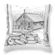 Vermont Hunter Lodge Throw Pillow