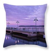 Vermont Lake Champlain Sunrise Clouds Fishing Pier Throw Pillow