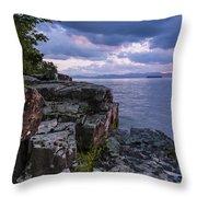 Vermont Lake Champlain Sunset Clouds Shoreline Throw Pillow