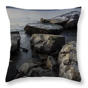 Vermont Lake Champlain Sunset Cloudscape Rocks Throw Pillow