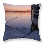 Vermont Lake Champlain Sunset Nautical Boat  Throw Pillow