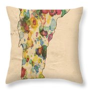Vermont Map Vintage Watercolor Throw Pillow