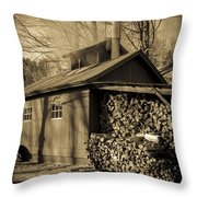 Vermont Maple Sugar Shack Circa 1954 Throw Pillow