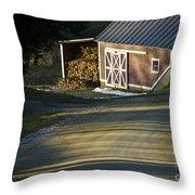 Vermont Maple Sugar Shack Sunset Throw Pillow by Edward Fielding