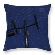 Vermont Night Sky Skiing Star Trails Throw Pillow