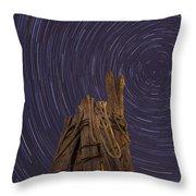 Vermont Night Star Trail Wood Pier Throw Pillow