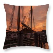 Vermont Sunrise Boats Pier Lake Champlain Throw Pillow