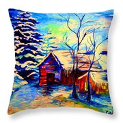 Vermont Winterscene In Blues By Montreal Streetscene Artist Carole Spandau Throw Pillow