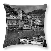 Vernazza - Cinque Terre In Grey Throw Pillow