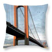 Verrazano Bridge At Sunrise - Verrazano Narrows Throw Pillow