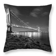 Verrazano-narrows Bridge Bw Throw Pillow