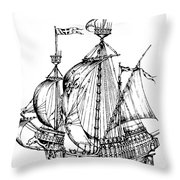 Verrazzano's Ship Throw Pillow