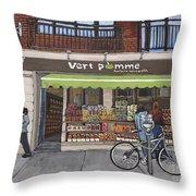 Vert Pomme  Fruiterie Meloche Et Fille Throw Pillow