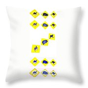 Vertical Road Signs Throw Pillow