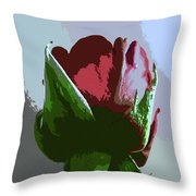 Vertical Rose Painting Style Throw Pillow