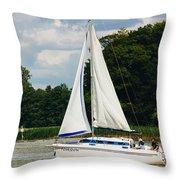 Vertical Sailboat Throw Pillow