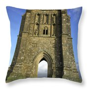 Vertical View Of Glastonbury Tor Throw Pillow