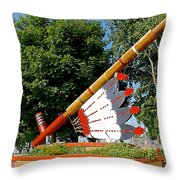 Very Large Pipestone Pipe Sculpture By Former Rock Island Line Railroad Depot In Pipestone-minnesota Throw Pillow