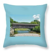 Very Long Covered Bridge Throw Pillow