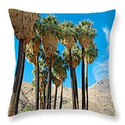 Very Tall Fan Palms In Andreas Canyon In Indian Canyons-ca Throw Pillow