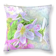 Very Tiny Wildflower Boquet Digital Paint Throw Pillow