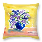 Vase With Lilas Flowers Throw Pillow