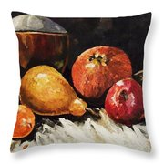 Vessel And Fruit Throw Pillow