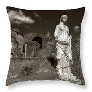 Vestal Virgin Courtyard Statue Throw Pillow