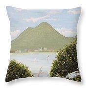 Vesuvius And Umbrella Pine Tree Throw Pillow