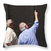 Veterans Look For A Fallen Soldier's Name On The Vietnam War Memorial Wall Throw Pillow