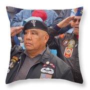 Veterans Saluting Passing Flag In A Parade Sacaton Arizona 2005-2013 Throw Pillow