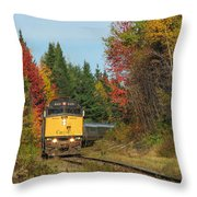Fall Colours With Train Throw Pillow