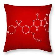 Viagra Molecular Structure Red Throw Pillow