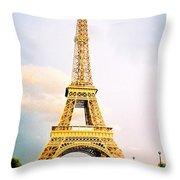 Vibrant Eiffel Tower Throw Pillow