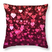 Vibrant Pink And Red Bokeh Hearts Throw Pillow