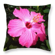 Vibrant Pink Hibiscus Throw Pillow