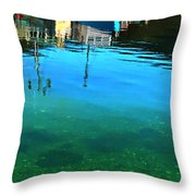 Vibrant Reflections -water - Blue Throw Pillow