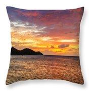 Vibrant Tropical Sunset Throw Pillow