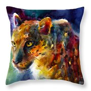 Vibrant Watercolor Leopard Wildlife Painting Throw Pillow