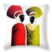 Vibrant Zulu Ladies - Original Artwork Throw Pillow
