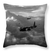 Vickers Wellingtons No 75 Squadron Black And White Version Throw Pillow